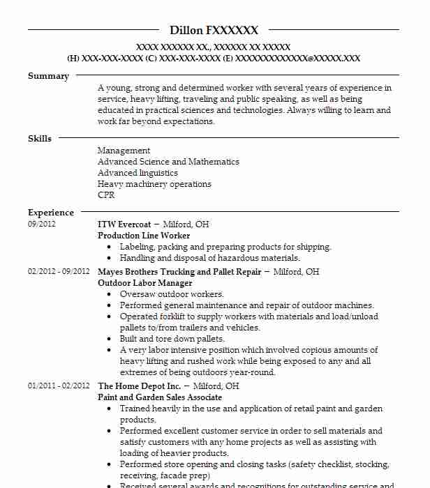 production line worker resume
