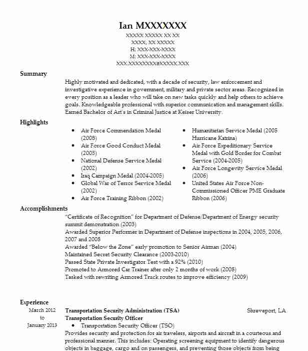 Armored Car Security Officer Sample Resume Amazing Police Officer