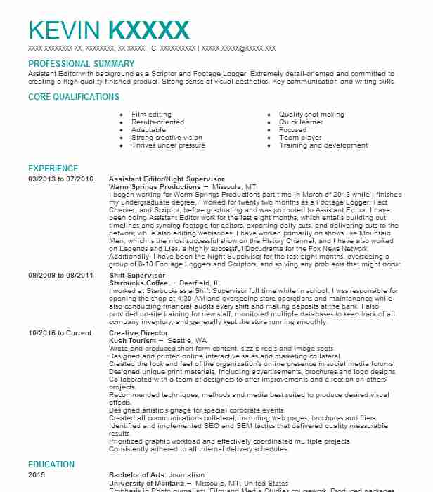 5096 Editing Resume Examples Entertainment And Media Resumes - assistant editor resume