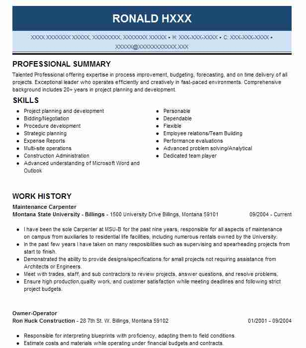 Maintenance Carpenter Resume Sample Carpenter Resumes LiveCareer - fixed base operator sample resume