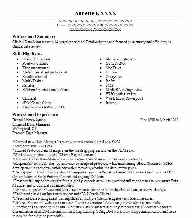 Clinical Data Manager Resume Sample Manager Resumes LiveCareer
