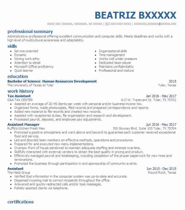 Tax Assistant Resume Sample Assistant Resumes LiveCareer