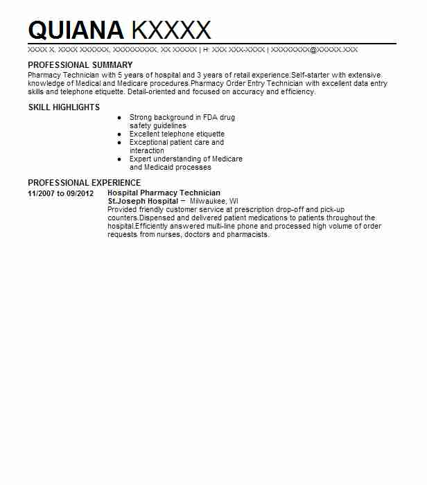 Hospital Pharmacy Technician Resume Sample LiveCareer