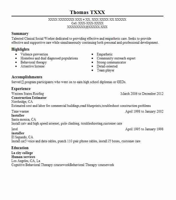 Construction Estimator Resume Sample Resumes Misc LiveCareer
