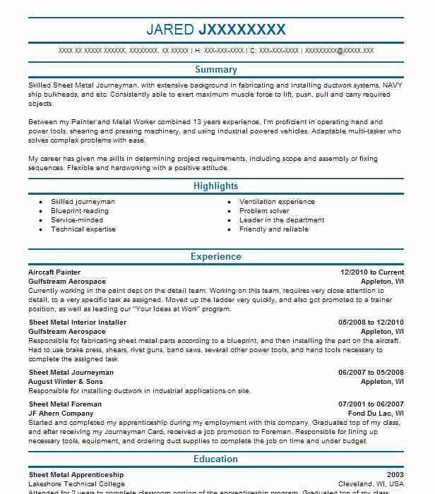 Aircraft Painter Resume Sample Painter Resumes LiveCareer