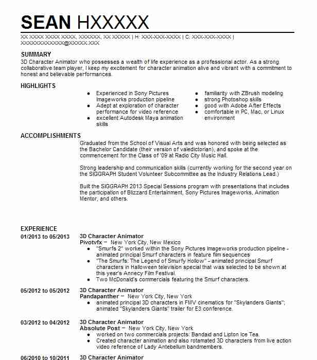 3D Character Animator Resume Example (Pivotvfx) - Weston, Connecticut