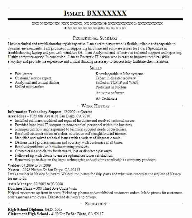 Information Technology Support Resume Sample LiveCareer - Technology Resume