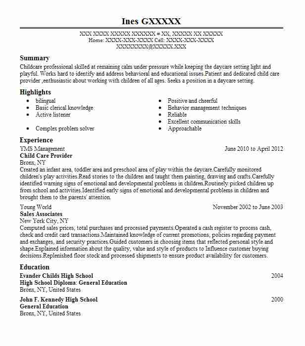 resume objective for daycare teacher