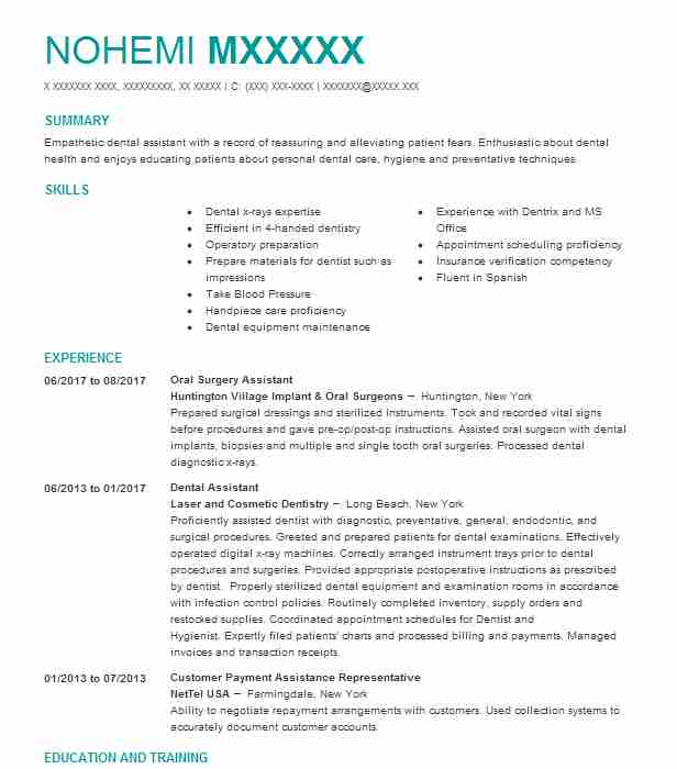 Oral Surgery Assistant Resume Sample Assistant Resumes LiveCareer - oral surgery assistant sample resume