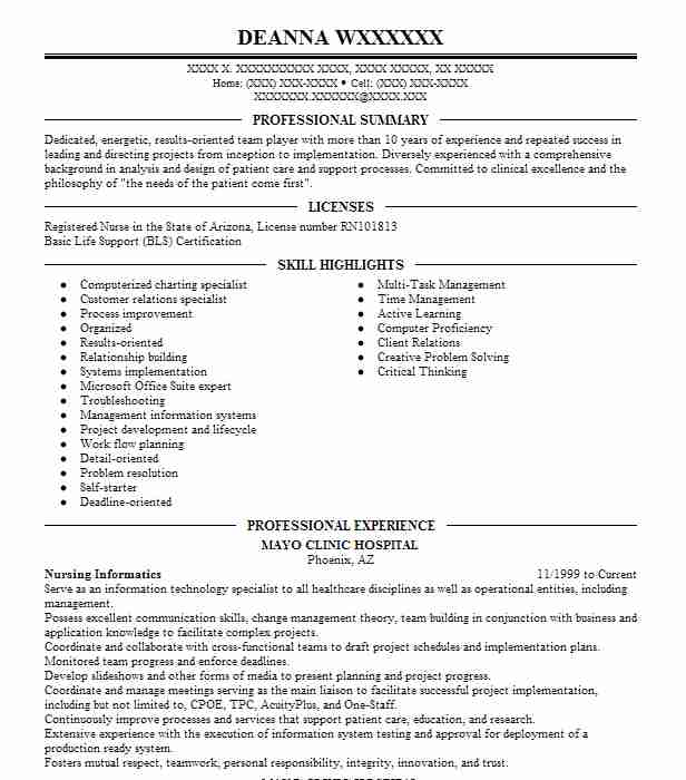 Nursing Informatics Resume Sample Nursing Resumes LiveCareer