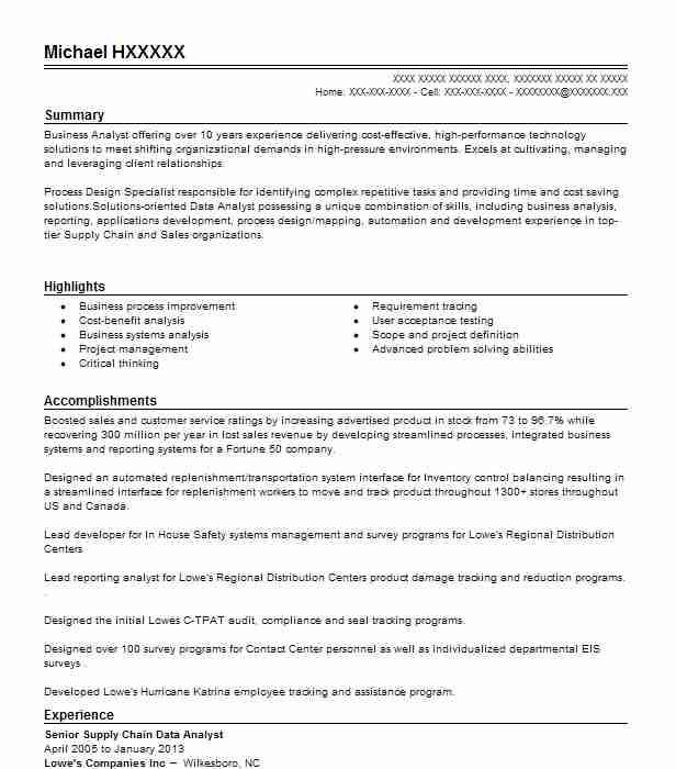 Senior Supply Chain Data Analyst Resume Example (Lowe\u0027s Companies