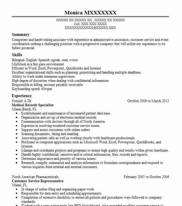 Medical Records Specialist Resume Sample LiveCareer