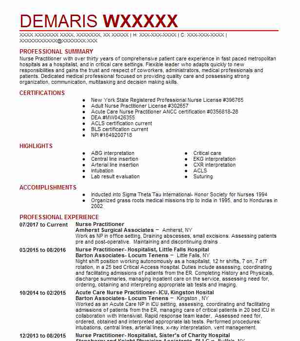 Nurse Practitioner Resume Example (Amherst Surgical Associates