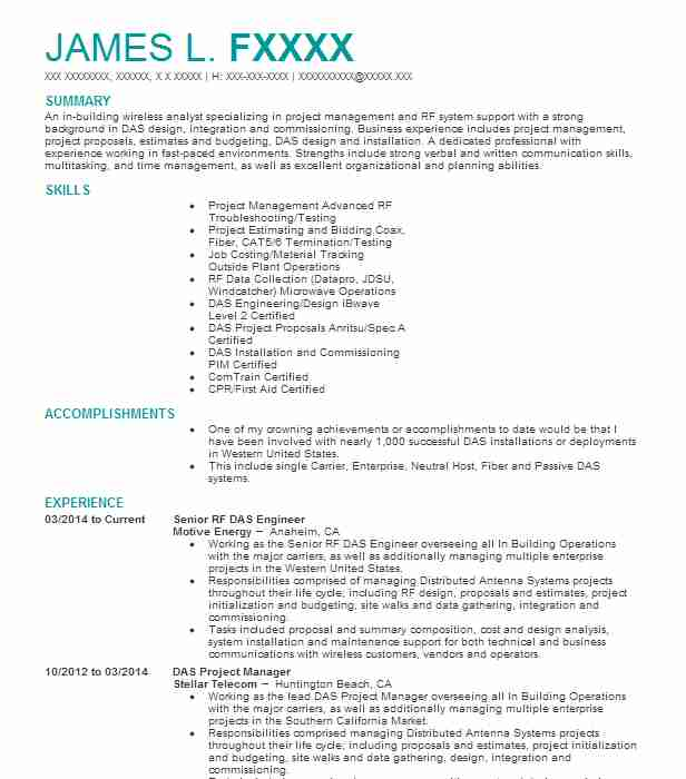 Field Test Engineer Resume Example (GLOBAL WIRELESS SOLUTIONS, LLC