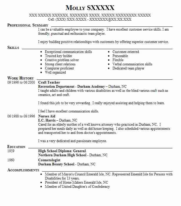 Craft Teacher Resume Sample Teacher Resumes LiveCareer