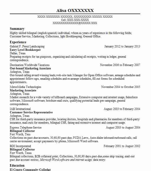 Entry Level Bookkeeper Resume Sample LiveCareer - Entry Level Resume