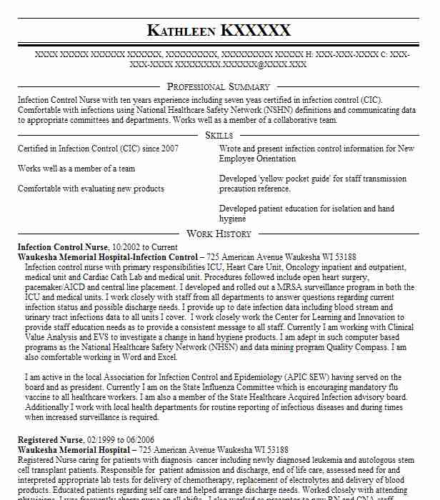 Infection Control Nurse Resume Sample Nursing Resumes LiveCareer - infectious disease specialist sample resume
