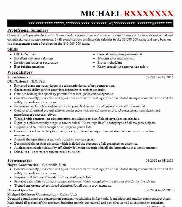 2 Construction Management Resume Examples Manufacturing And
