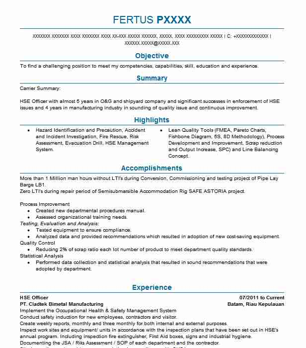 Hse Officer Objectives Resume Objective LiveCareer