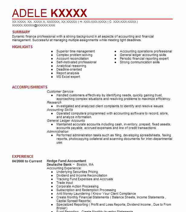 Hedge Fund Accountant Resume Sample Accountant Resumes LiveCareer