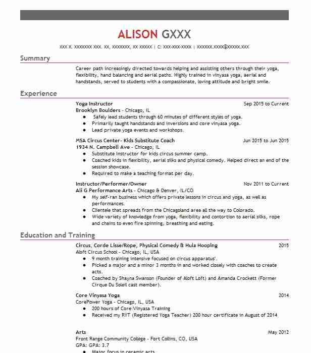 Yoga Instructor Resume Example (Brooklyn Boulders) - Chicago, Illinois