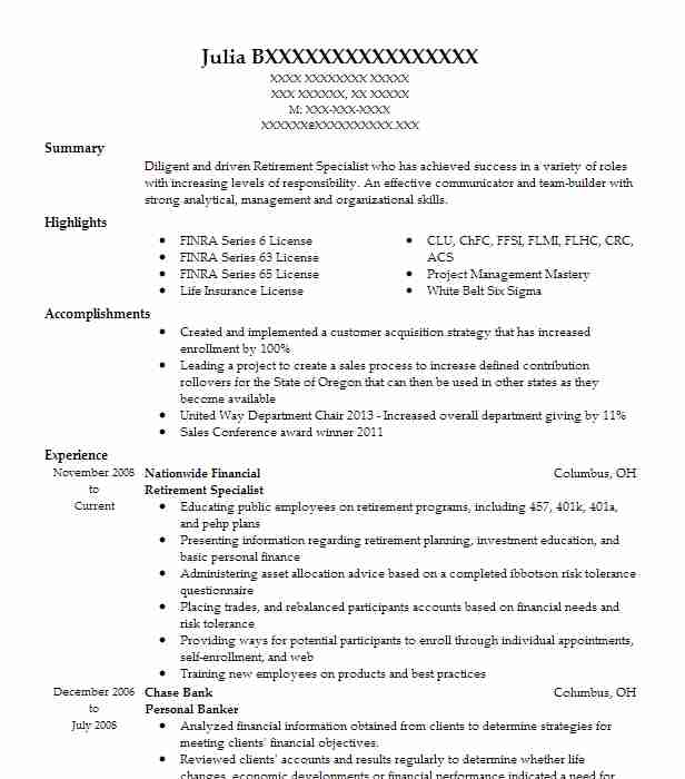 Retirement Specialist Resume Example (Nationwide Financial) - New
