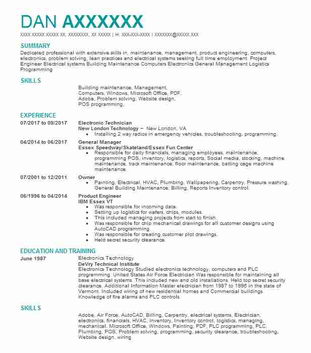 Electronic Technician Resume Sample Electronics Resumes LiveCareer