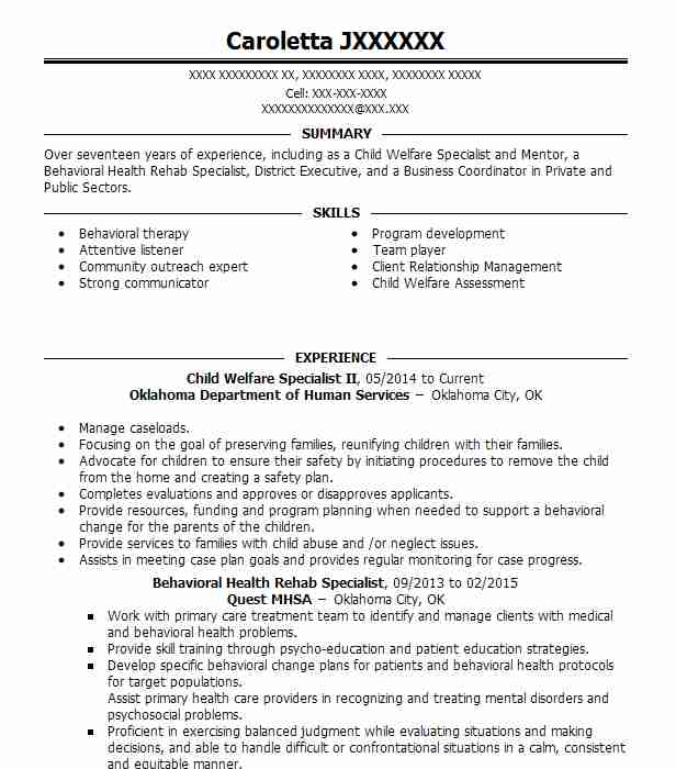 260 Social Workers Resume Examples in Oklahoma LiveCareer - child welfare specialist sample resume