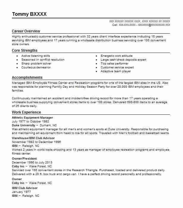 Athletic Equipment Manager Resume Sample LiveCareer