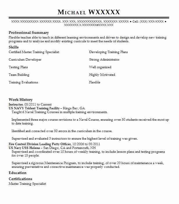 1 Government Administration (Education And Training) Resume Examples