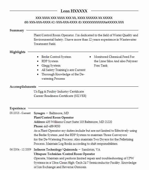 22 Watershed Management Resume Examples in Maryland LiveCareer - control room operator sample resume