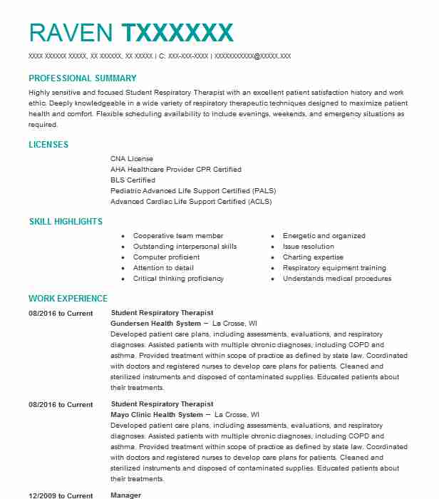 Student Respiratory Therapist Resume Sample LiveCareer