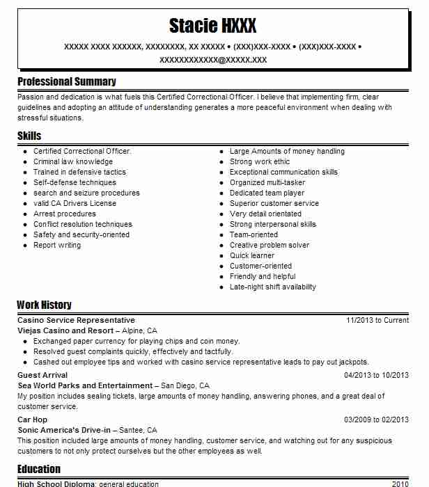 5 Security Guards And Surveillance Officers Resume Examples - casino security officer sample resume