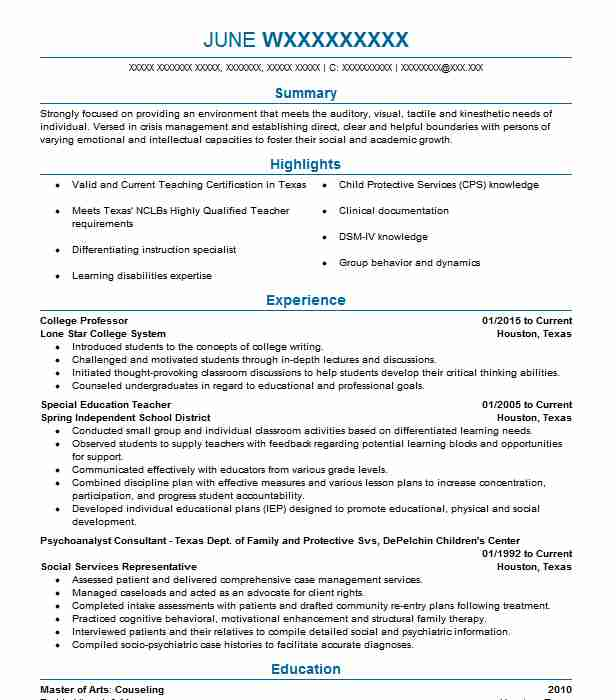 sample resume objectives for college professors