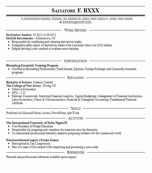 Derivatives Analyst Resume Sample Analyst Resumes LiveCareer