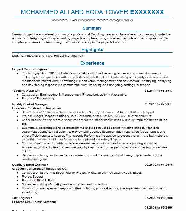 Project Control Engineer Resume Sample LiveCareer