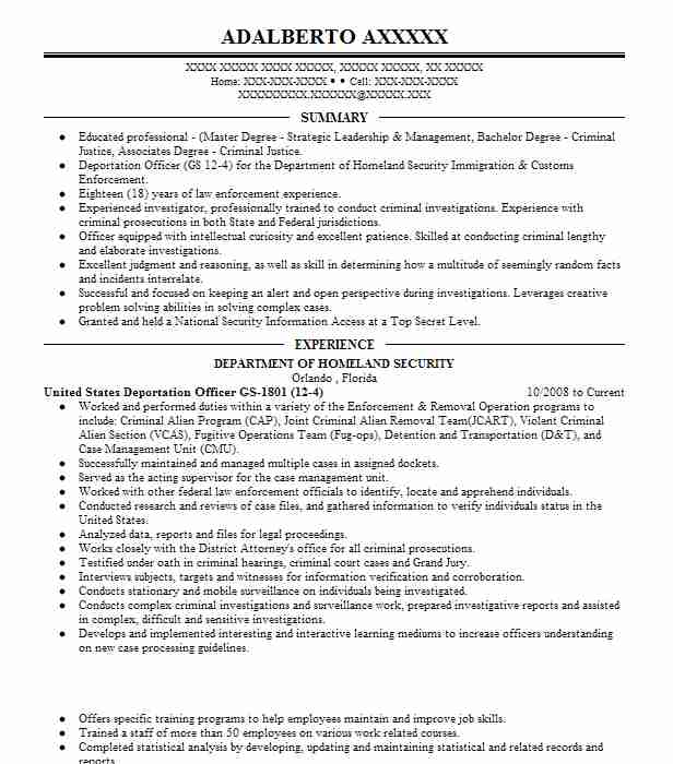 22142 Criminal Justice Resume Examples Government Resumes LiveCareer - Criminal Justice Resumes