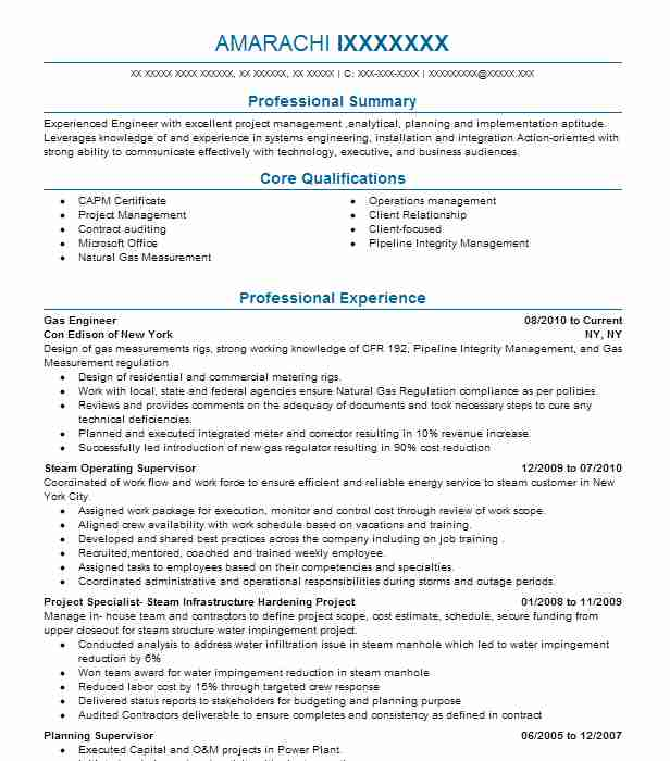 Gas Engineer Resume Sample Energy And Power Resumes LiveCareer - Experienced Engineer Resume