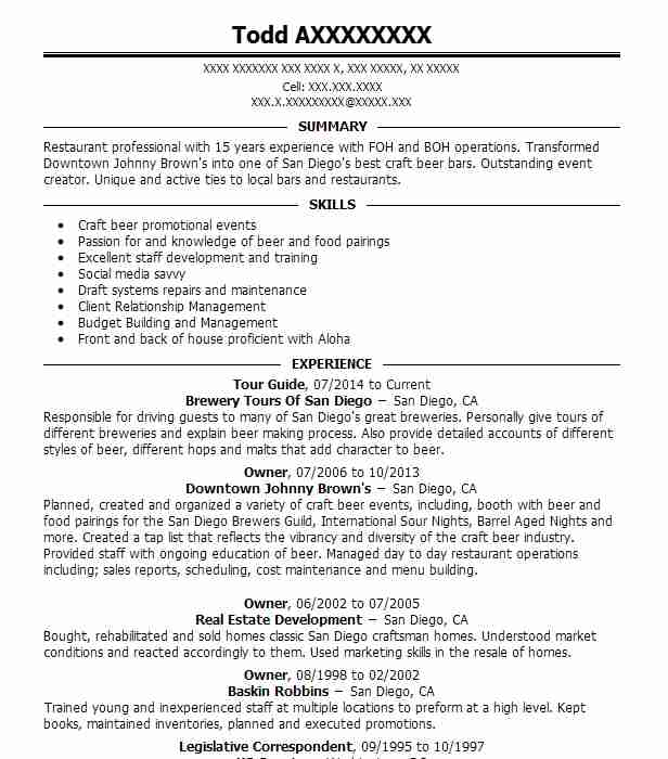 Tour Guide Resume Sample Travel And Tourism Resumes LiveCareer - Tour Guide Resume