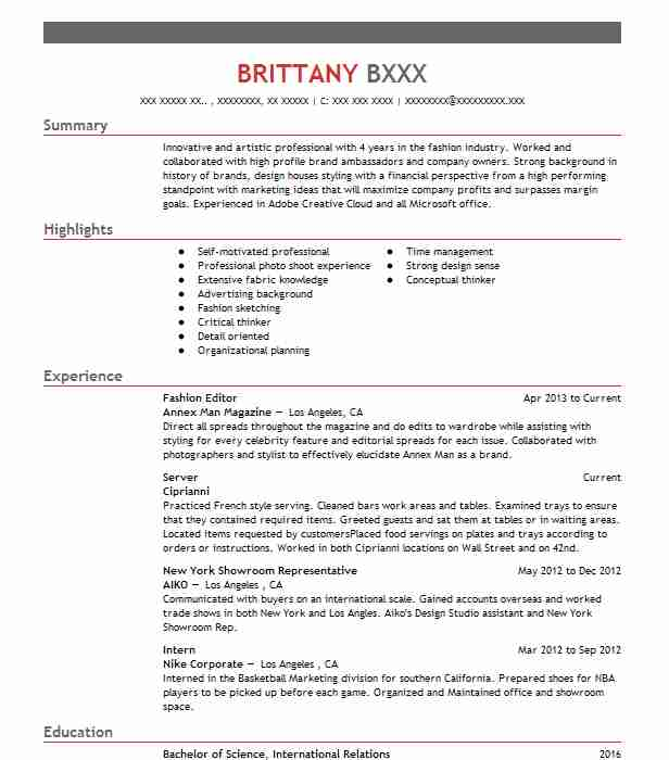 Fashion Editor Resume Sample Resumes Misc LiveCareer
