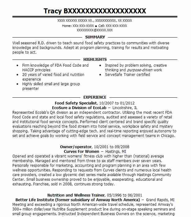 Food Safety Specialist Resume Sample Specialist Resumes LiveCareer