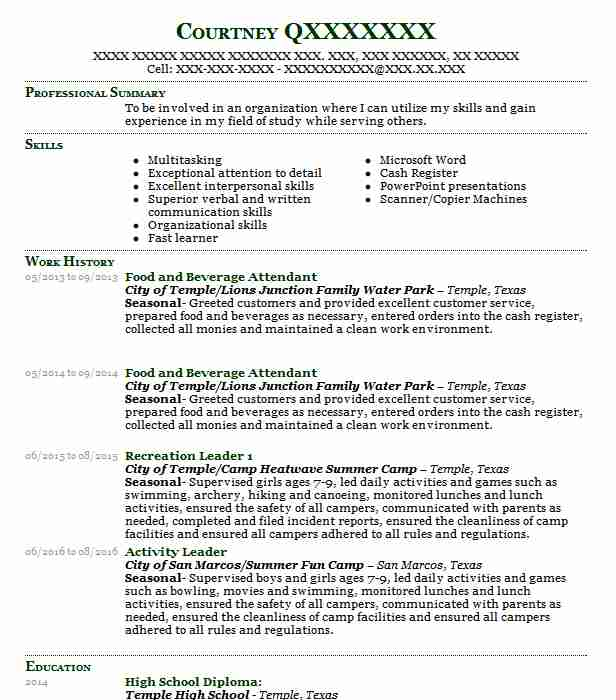 Food And Beverage Attendant Resume Sample Resumes Misc LiveCareer