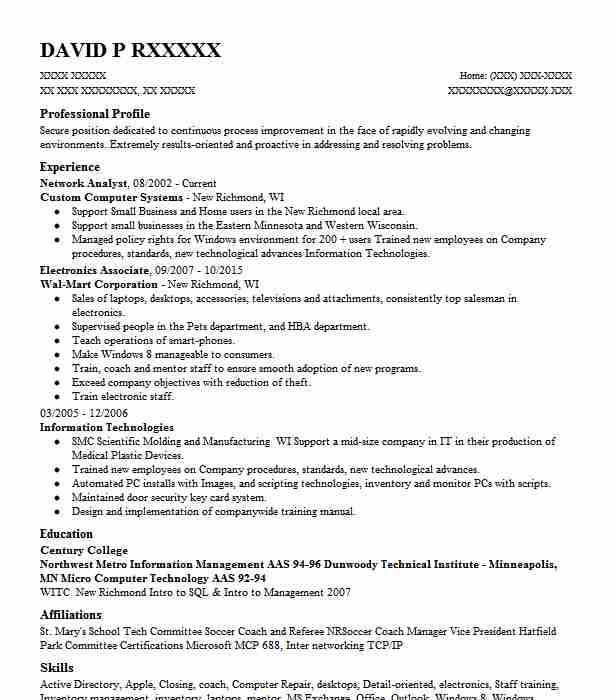 Network Analyst Resume Sample Analyst Resumes LiveCareer