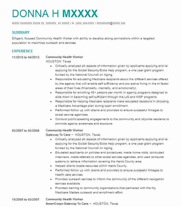 Community Health Worker Resume Sample Worker Resumes LiveCareer - outreach worker resume