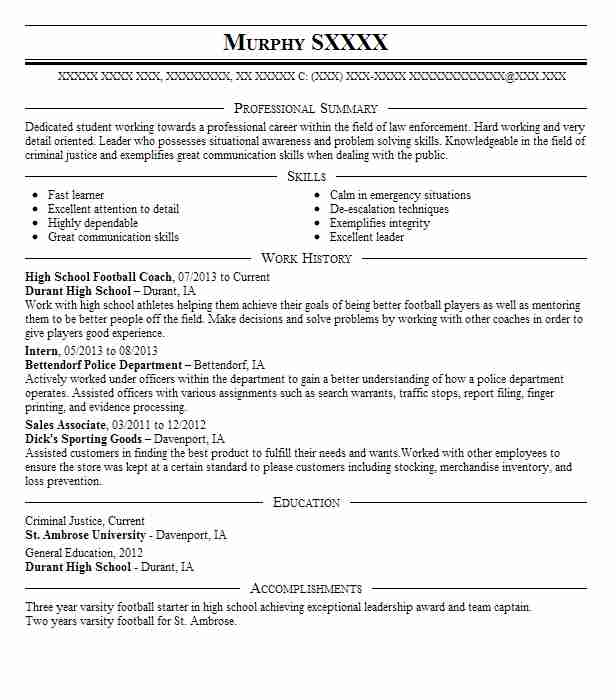 High School Football Coach Resume Sample Coach Resumes LiveCareer
