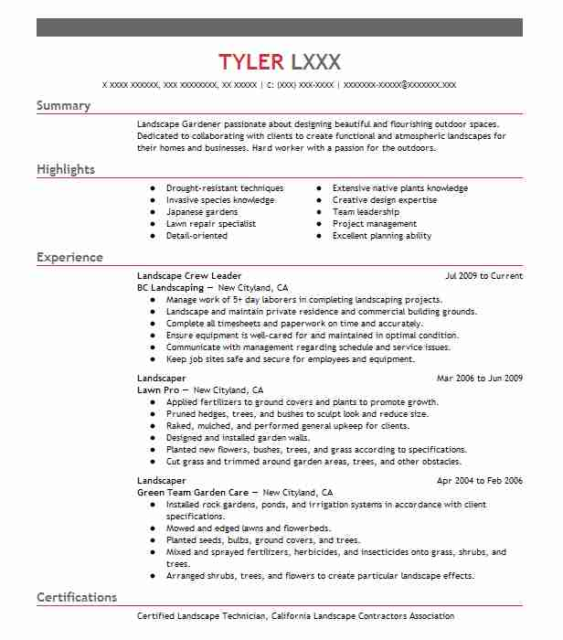 landscaping resume sample