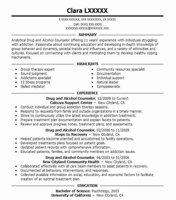Drug And Alcohol Counselor Resume Sample LiveCareer