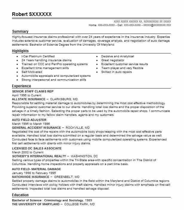 11 Adjusters, Investigators And Collectors (Insurance) Resume - allstate insurance adjuster sample resume