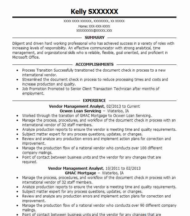 Vendor Management Analyst Resume Sample LiveCareer