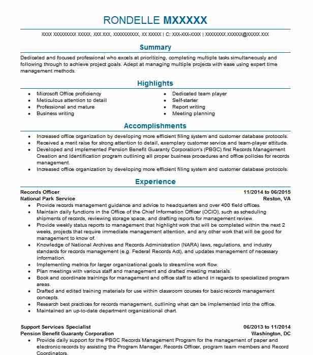Records Officer Resume Sample Officer Resumes LiveCareer